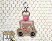Golf Cart snap tab keychain - utility key fob design - Father's Day gift idea - machine embroidery keychain design 06 02 2017