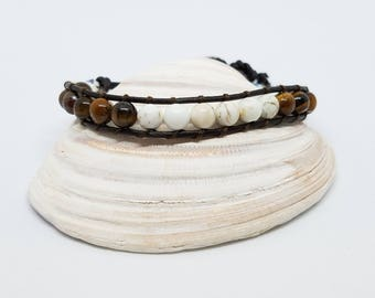Dark brown leather single wrap bracelet 6mm tiger eye and dyed white howlite stones cotton stitching button closure