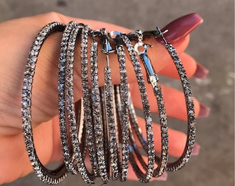Gun metal Crystal Hoop Earrings, Statement Earrings, Hoop Earrings, Silver Earrings, Crystal Earrings, Large Earrings, Earrings