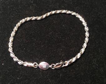 SU Italy 925 sterling silver rope bracelet