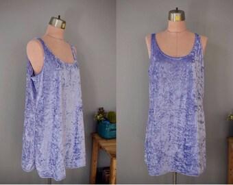 Vintage 90s Pastel Purple Crushed Velvet Stretch Tank Dress // Sz L