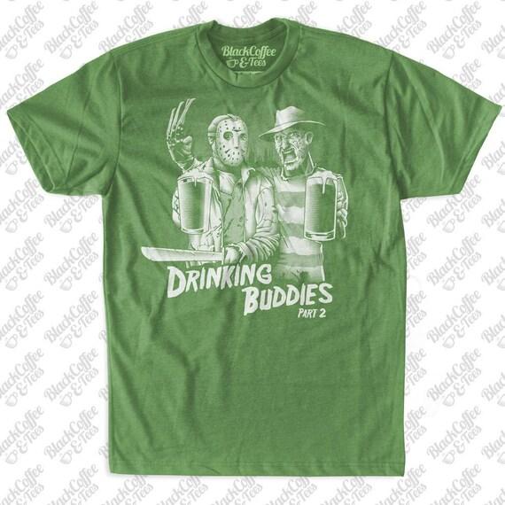 St Patricks Day Shirt -Mens Freddy Krueger and Jason Voorhees Shirt- Funny Beer Shirt - Friday The 13th Shirt- Mens St Pattys Green T-Shirt