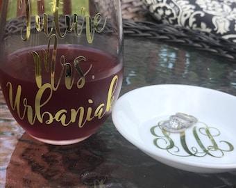 Future Mrs. Wine Glass & Monogram Ring Dish SET