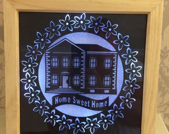 Home Sweet Home paper cut with LED lighting, ideal home gift