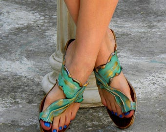 "Greek Handmade Leather Sandals, Women Sandals, Handpainted Sandals ""Leros"" (handmade to order)"