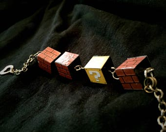 Mario Question Cube and Brick Cube Inspired Charm Bracelet