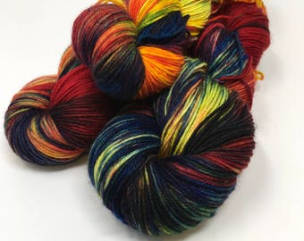 Fox Fire Indie Dyed Yarn on Merino cashmere Nylon MCN blue purple red speckled