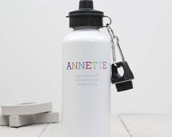 SUMMER SALE Hashtag Water Bottle -  Personalised Drinks Bottle - On The Go Gift - Fun Gift For Teenage