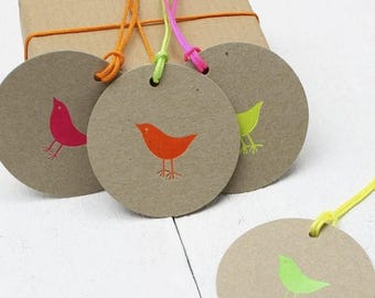 ON SALE Neon Birdie Gift Tags - Neon Gift Wrap - Kraft Gift Tags - Round Tags - Bird