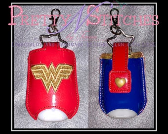 WW Sanitizer Holders for 4X4 is 2 hoopings and 5X7 hoops fits 1 oz Bath and Body Works