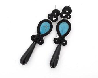 Blue earrings, turquoise earrings, black earrings, long earrings, gemstone earrings, drop earrings, boho earrings, dangle earrings, for her