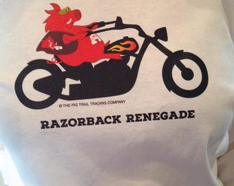 Arkansas Razorback Renegade T-Shirt Hog on a Motorcycle Hog Long-Sleeved for Gals