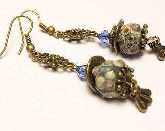 B46 - earrings-Bohemian-rustic - Lampwork - Glass Beads metal bronze