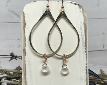 Sterling silver hoops, with moonstone drop