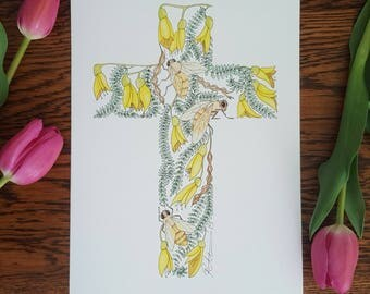 Kowhai Cross Honey Bee Watercolour A4