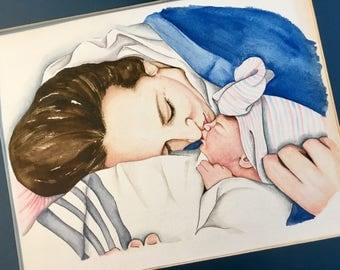 Mommy and Me Watercolor portrait
