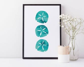 Sand Dollar, Sand Dollar Print, Beach House Decor, Blue Print, Beach Print, Printable Wall Art, Digital Printable Wall Art, Aqua Art Print