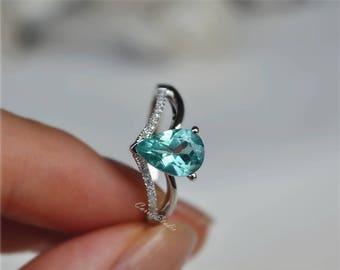 Solid 18K Apatite Ring White Gold Apatite Engagement Ring Wedding Ring Promise Ring Anniversary Ring