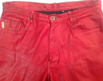 Machine WASHABLE for women/red/Size 10 leather pants / Vintage 1990s /Washable Red Leather Pants