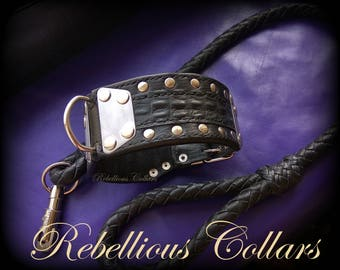 Leather dog collar with stainless steell, croc print