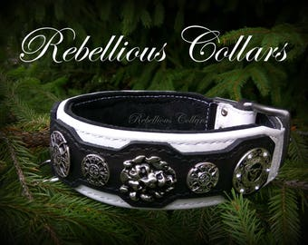 "leather dog collar "" Celtic lion guardian"""