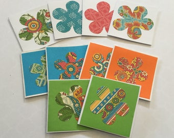Bohemian mini cards, flower cards, gift cards, note cards, colourful, set of 10