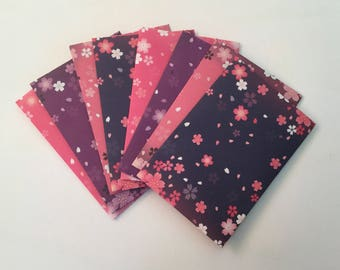 Japanese envelopes, cherry blossoms, snail mail envelope set, japanese stationery, gift idea