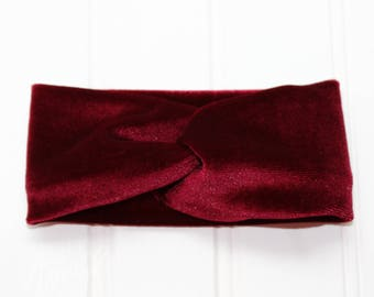 Burgundy Velvet Faux Turban Headband