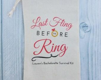 10 Bachelorette Party Favor, Hangover Kit, Survival Kit, Emergency Kit , Custom Bachelorette Party Bags - Last Fling Before the Ring