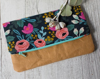 Rifle Paper Co. navy floral clutch with washable paper. Fold over clutch, Zipper pouch, Floral Clutch, Purse