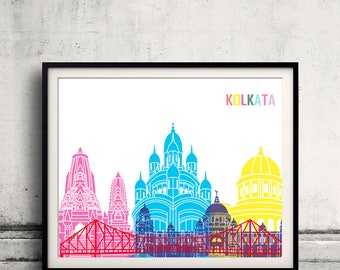 Kolkata skyline pop - Fine Art Print Glicee Poster Gift Illustration Pop Art Colorful Landmarks - SKU 2483