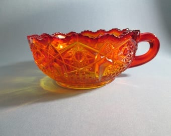 LE Smith Vintage Red Orange Amberina Handled Nappy Bowl in Quintec Pattern