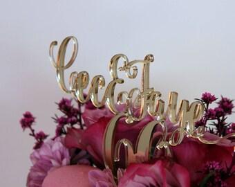 Custom Acrylic Gold Mirror wedding or birthday cake topper. Laser cut 3mm acrylic. A5