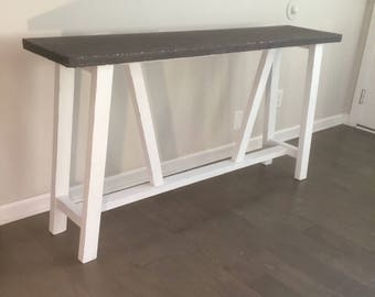 "Versatile 48"" x 14"" Entryway or Sofa Table with Concrete Top."