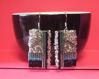 Earrings recycling Tin blue beads