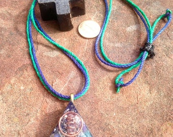 "The ""Equilateral"" Orgone Amulet- Rhodizite, Gr Agate, Selenite, Garnet, Amethyst, Quartz Sand, Laser Quartz, Shungite, Hemp- Aura Protection"
