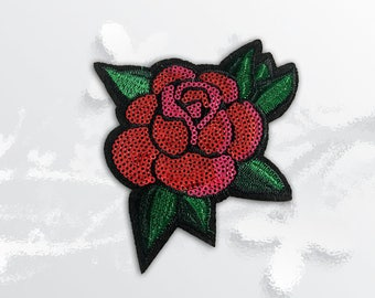 Rose Sequin Iron on Patch(L) - Sequin Flower Glitter Applique Iron on Patch - Size 10.5(W)x11.0(H) cm