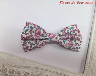 Hair clip bow tie Liberty Eloise pink and white