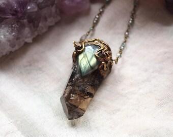 Smokey Quartz, Labradorite Necklace, Woodland Fairy, Fairy Necklace, Goddess Necklace, Mother Earth, Earthy Jewellery, Polymer Clay Pendant