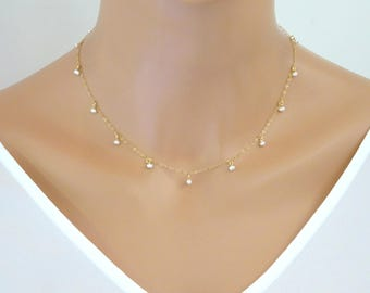 Pearl Necklace, Gold Pearl Necklace, Silver pearl Necklace, Bridesmaid Jewelry, Beaded Necklace, Delicate Necklace, Wedding jewelry