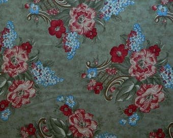 "Moda Fabric ~ Garden Magic by Blackbird Designs ~ Red and Blue Florals ~ 8"" Wide Bouquets"