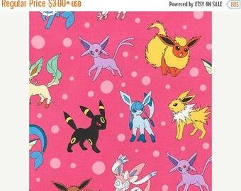 SALE Pokemon Character on Pink Fabric, Pokemon Fabric, Pikachu on Pink Kaufman fabric 16210-10 / Yardage. Pokemon by the Yard / Pokemon Go Q