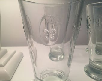 Fleur De Lis Clear Drinking Glasses - Set of 6 Made in France