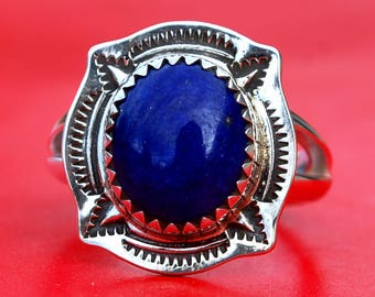 Lapis Argentium Sterling Silver Ring Handmade NEW