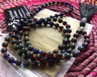 Retro Spiritual Junkies Chakra Mala | 108 Black Sandalwood Beads + Tassel | Yoga + Meditation