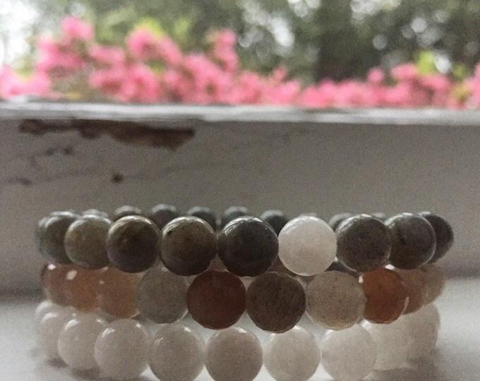 I am Divine   Labradorite, Sunstone + Moonstone   Spiritual Junkies   Yoga + Meditation   Stack of 3 Mala Bracelets