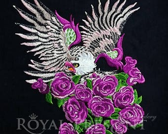 Machine embroidery design Eagle and roses - 2 sizes