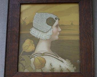 Antique Paul Berthon Lithograph Portrait of Queen Wilhelmina in Arts & Crafts Wood Frame