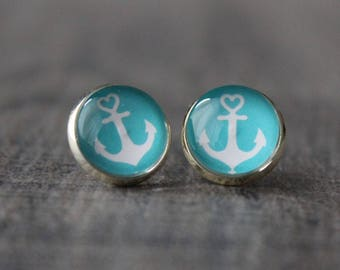 """Ear stud """"anchor"""", light blue"""