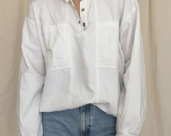 80s Crisp White Cotton Quarter Snap Pullover